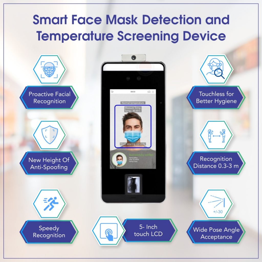 Face Recognition, Face Mask Detection and Temperature Screening Contact-less Device